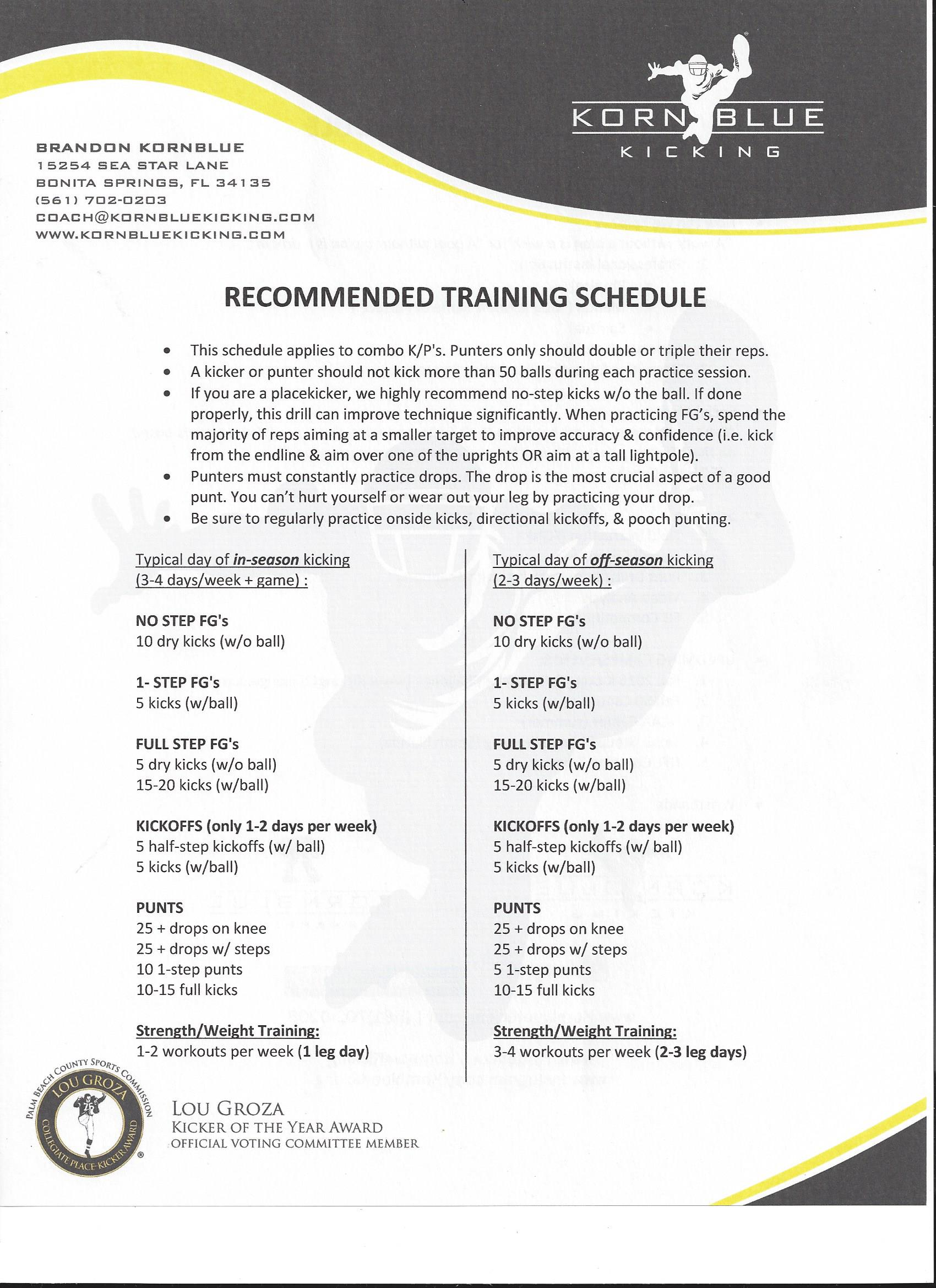 Recommended Training Schedule (kickers, punters, & long snappers