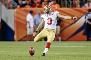 Aug 20, 2016; Denver, CO, USA; San Francisco 49ers kicker John Lunsford (3) kicks the ball in the fourth quarter against the Denver Broncos at Sports Authority Field at Mile High. Mandatory Credit: Isaiah J. Downing-USA TODAY Sports